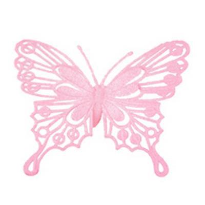 <h4>Pique Papillon baroque 9x10cm+bâton 50cm rosé</h4>