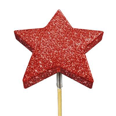 <h4>Bijsteker glitter ster foam Ø7cm+12cm stok rood</h4>