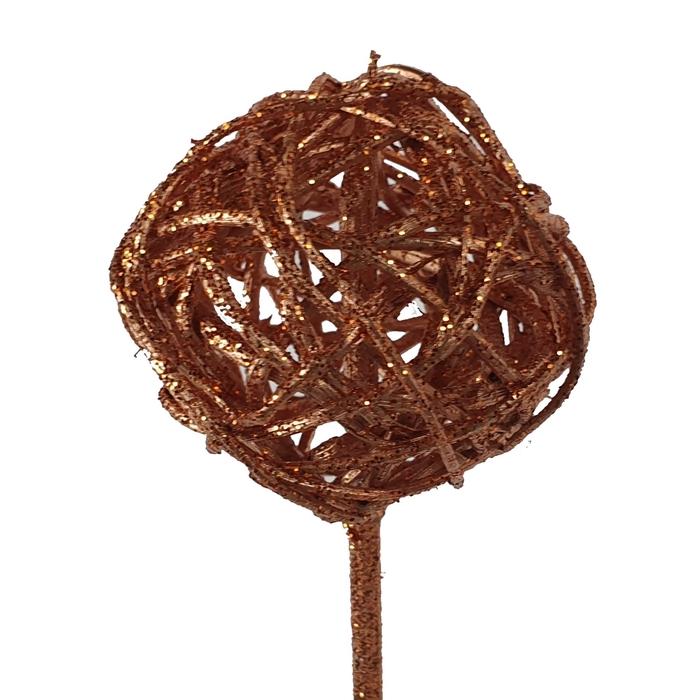 <h4>Bruce ball 5cm on stem Copper with glitter</h4>