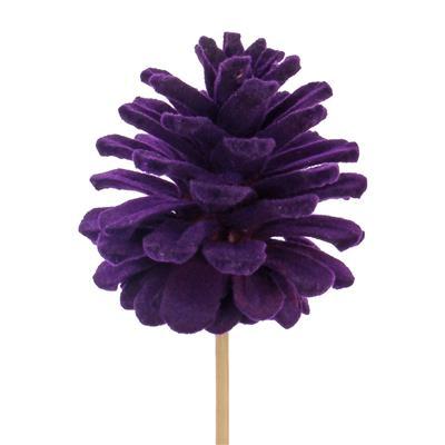 <h4>Pique cône du pin flock 5-6cm+12cm bâton violet</h4>