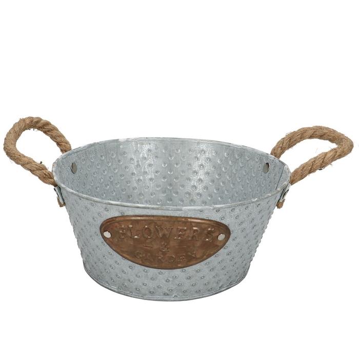 <h4>Zinc Dot tray+handle rope d20*9cm</h4>