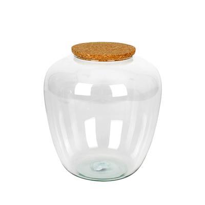 <h4>Vaas Ceres met kurk Ø19xH20cm recycled glas</h4>