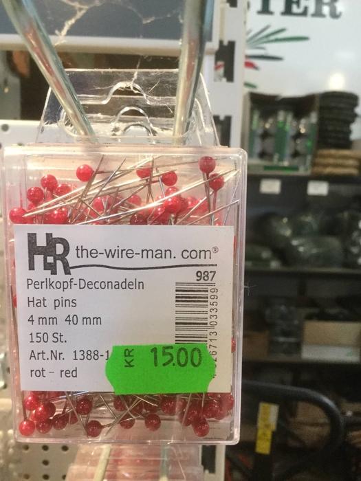 <h4>Dekonål med rødt hoved, 4mm</h4>