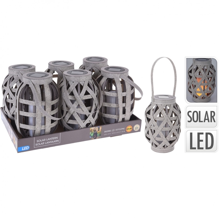 <h4>Lantaarn LED Rotan+solar d15*25cm ass.</h4>