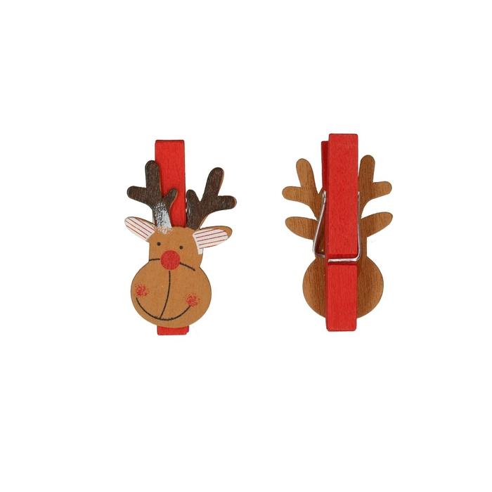 <h4>Christmas Pegs reindeer 4cm x36</h4>