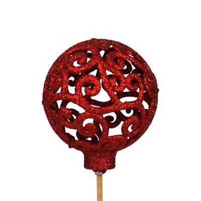 <h4>Bijsteker Balroque Ø6cm+50cm stok glitter rood</h4>