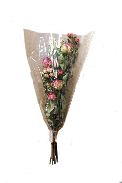 <h4>Dried Rosa tros Burgundy Orange Bouquet</h4>