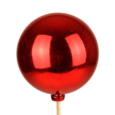 <h4>Bijsteker Kerstbal glans Ø6cm+50cm stok rood 100</h4>