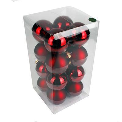 <h4>Boules de nöel en tube 80mm ass. rouge foncé 16pcs</h4>