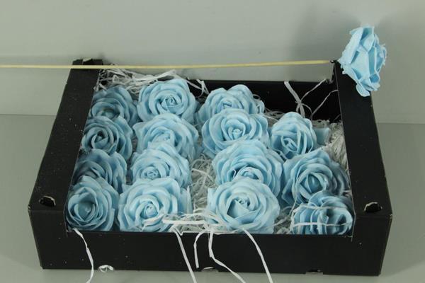 <h4>Wax Rose Light Blue + Stk 30cm</h4>