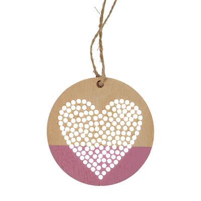 <h4>Pendantif Punched Heart bois Ø7cm+16cm corde rose</h4>