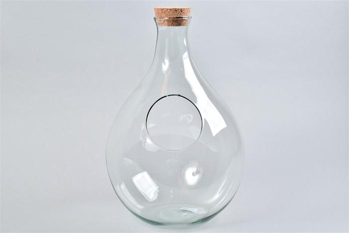 <h4>Glas Met Kurk Fles Open 26x37cm</h4>