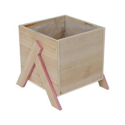 <h4>Pot Alvie en bois 12x12xH11cm sur pied rose</h4>
