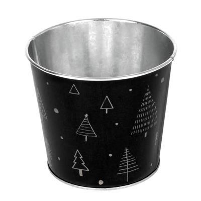 <h4>Pot Merry Christmas zinc ES10,5xH10,8cm noir</h4>