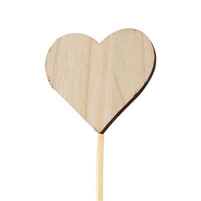 <h4>Pique cœur naturel bois 6,5x7,5cm+12cm bâton</h4>