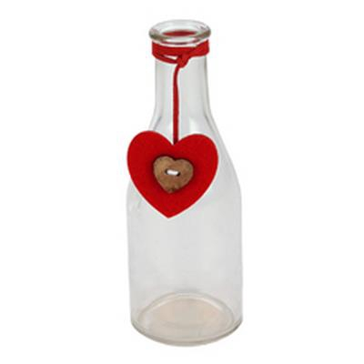 <h4>Vaas Moroni Heart rood glas D6,5xH18cm transparant</h4>