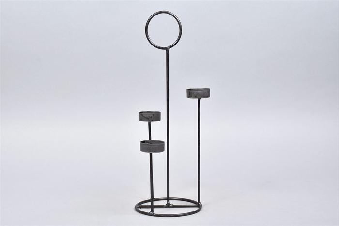 <h4>Kaarshouder T.light Steel 12x35cm 3 Cups</h4>
