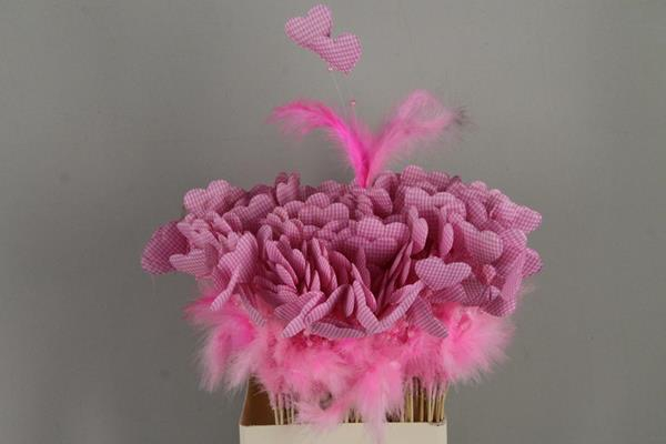 <h4>Stick Heart+feather+pearl Pink</h4>