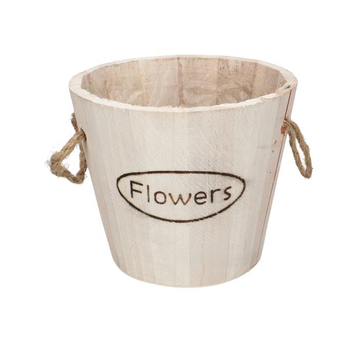 <h4>Hout Flowers pot d14.5*13cm+handvat</h4>