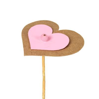 <h4>Pique cœur kraft 6,5x7,5cm+12cm bâton rose</h4>