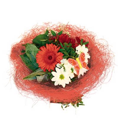 <h4>Support à bouquet sisal arrondi mobile Ø25cm rouge</h4>