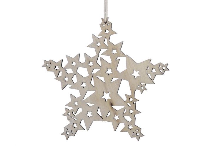 <h4>Kerst Hanger hout ster 10cm x5</h4>