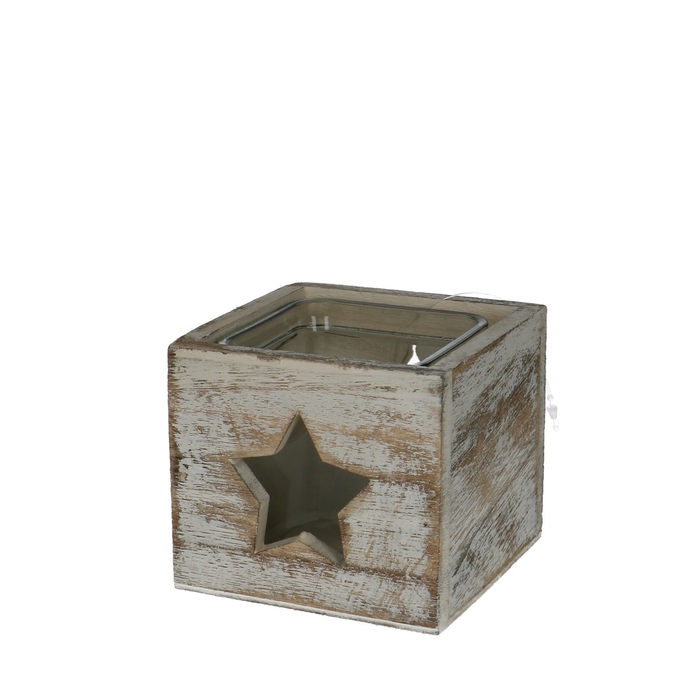 <h4>Candlelight Wood Xmas d9*8cm</h4>