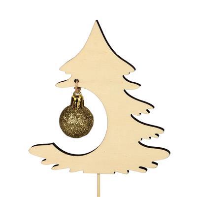 <h4>Bijsteker boom Deluxe hout 13x12cm+12cm stok goud</h4>