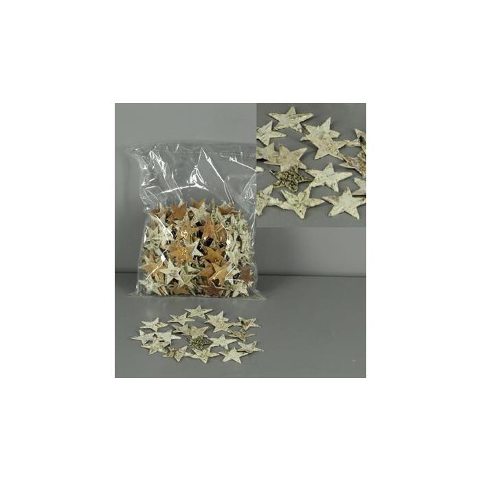 <h4>Birch Bark Star 5cm Bag(300)</h4>