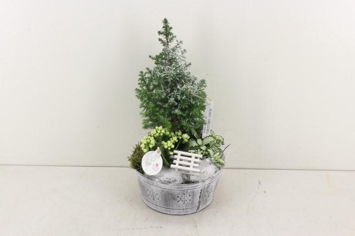<h4>arr. PL - Zink rond grijs boom kerst</h4>