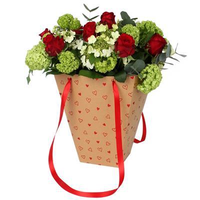 <h4>Bag Love story carton 24/24x13/13xH30cm red</h4>