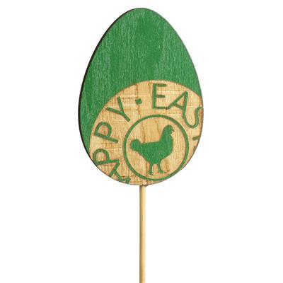 <h4>Pique oeuf Stamped bois 7x5cm+12cm bâton vert</h4>
