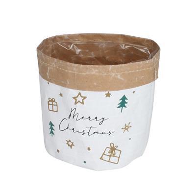 <h4>Pot Merry Christmas papier ES15xH17cm+pl. inlay</h4>