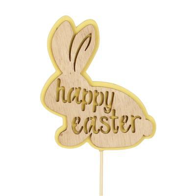 <h4>Pique Happy Bunny bois 8x6,8cm+50cm bâton jaune</h4>