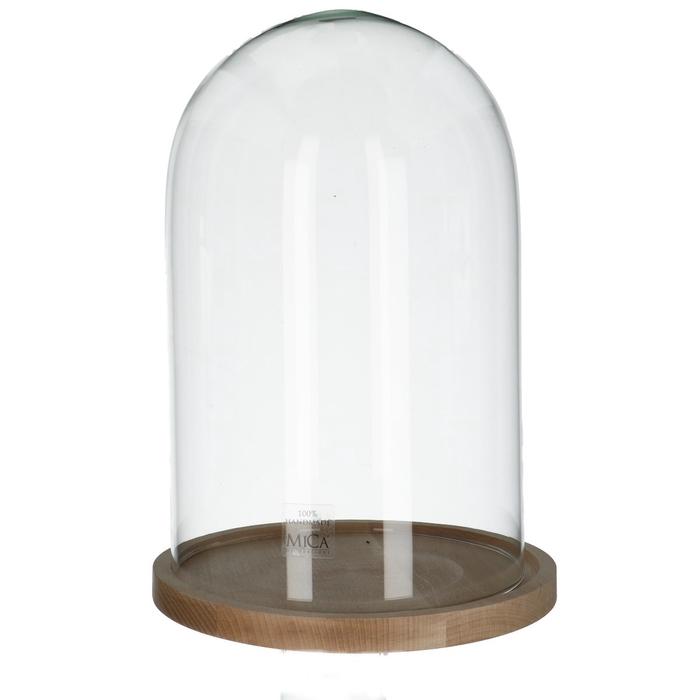 <h4>Glass Cloche+wood d21.5*30cm</h4>