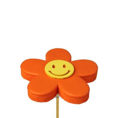 <h4>Bijsteker bloem Happy foam 7cm+ 50cm stok oranje</h4>