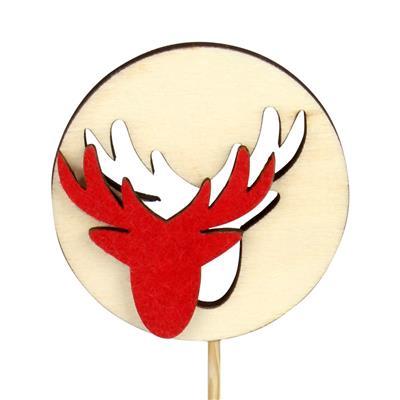 <h4>Bijsteker rendier hout+vilt Ø6cm+12cm stok rood</h4>