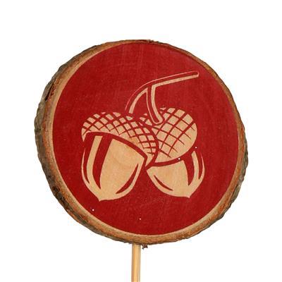 <h4>Bijsteker Acorn hout Ø6cm+12cm stok rood</h4>