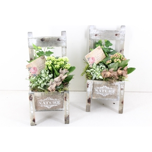 arr. TD419 - Houten stoel - roze/wit
