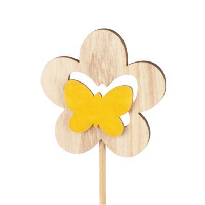 <h4>Bijsteker bloem hout+velvet 7cm+12cm stok geel</h4>