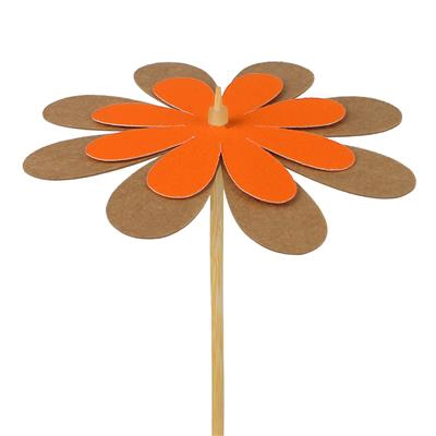 <h4>Pique fleur kraft 8cm+bâton 50cm orange</h4>