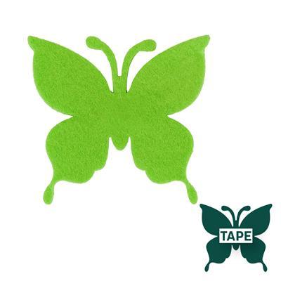 <h4>Butterfly felt 8x8,5cm + tape green</h4>