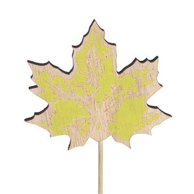 <h4>Bijsteker blad hout 8x7cm+12cm stok geel</h4>
