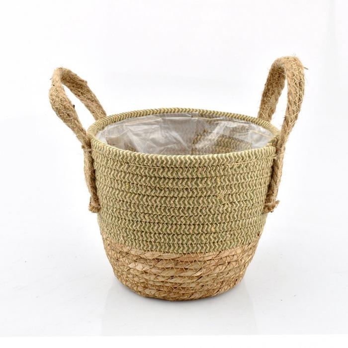 <h4>Baskets Straw+hessian pot d19*16cm</h4>