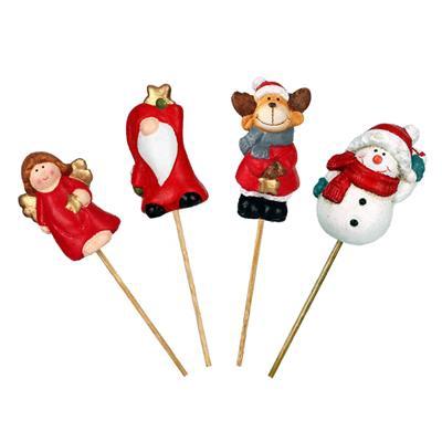 <h4>Pique Noël céramiques 7cm+12cm bâton mix 24morc.</h4>