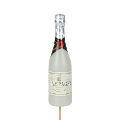 <h4>Bijsteker Champagnefles 13,5x4cm+12cm stok wit</h4>