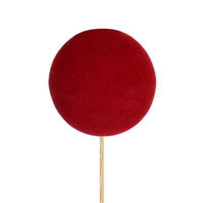 <h4>Pique boule de Noël velours Ø6cm+12cm bâton rouge</h4>