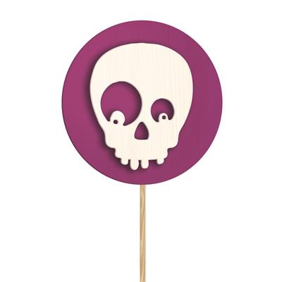 <h4>Bijsteker Skull hout Ø5cm + 50cm stok paars</h4>