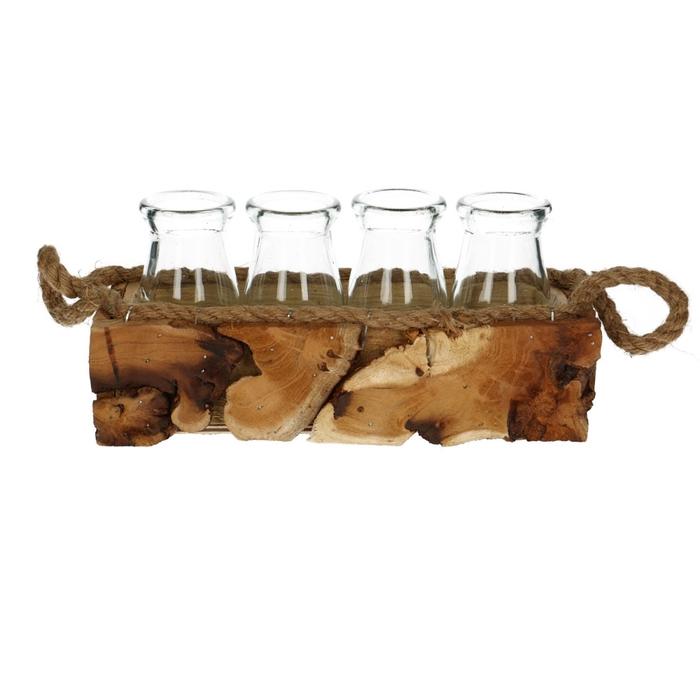 <h4>Glas Bak hout+4fles 25*7*9cm</h4>
