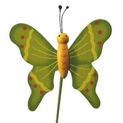 <h4>Pique Papillon flying bois 7x8cm+bâton 50cm vert</h4>